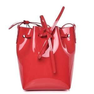 Mansur Gavriel Mini Patent Bucket Bag in Flamma